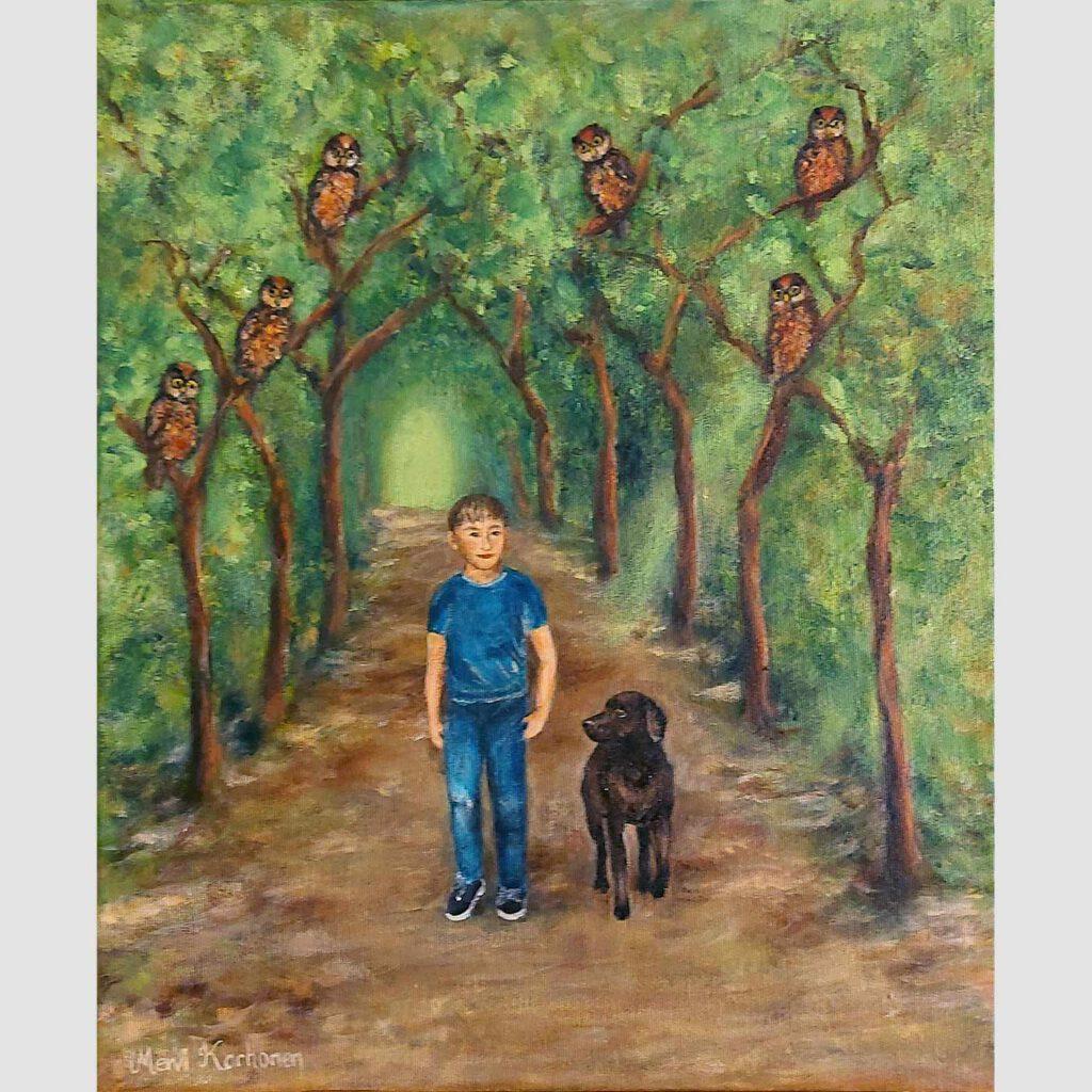 Poika ja koira kävelemässä pöllökujalla